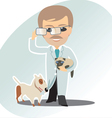 Veterinary man cat and dog vector