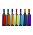 Color glass wine bottles vector