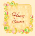 Frame of easter eggs spring background vector