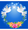 Two doves on blue background vector