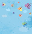 Background with sky and butterflies - watercolor vector