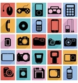 Collection flat icons with long shadow multimedia vector