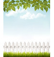 Nature background with green leaves and white vector