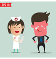 Cartoon nurse using syringe - - eps10 vector