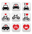 I love cars and bikes buttons set vector