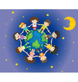 Happy kids surrounding the earth vector