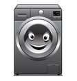 Cute silver washing machine with a happy face vector