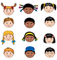 Multi ethnic children faces vector