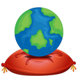 A globe above the red pillow vector