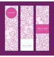 Pink flowers lineart vertical banners set pattern vector