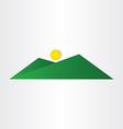 Abstract green mountain with sun vector