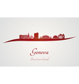Geneva skyline in red vector