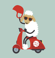 New year card with sheep on bike vector