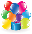 Colorful balloons and a gift box vector