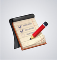 Open notepad with pencil icon vector