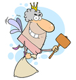 Male white tooth fairy flying with a bag and malle vector