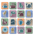 Kitchenware retro flat icons vector