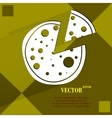 Pizza flat modern web button on a flat geometric vector
