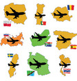 Fly me to the romania russia south africa south ko vector