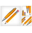 Pencils eraser pen three background 10 v vector