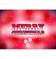 Red merry christmas card with snow and baubles vector