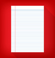 Notebook paper isolated red background empty vector