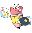 Pencil guy holding an abc report card vector
