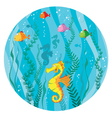 Underwater world in circle vector
