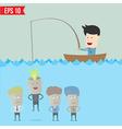 Cartoon businessman catching idea in the sea - vector