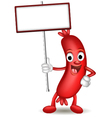 Sausage cartoon holding blank sign vector