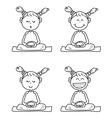 Cartoon happy kids meditation vector
