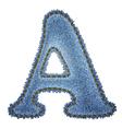 Jeans alphabet denim letter a vector