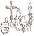 Pope hand draw element vector