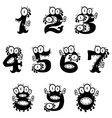 Cartoon monster numerals vector