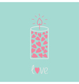Love candle with hearts pink and blue love card vector