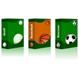 Sport box - golf basketball soccer ball vector