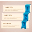 Set of 3 option banners with blue ribbon vector