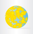 Globe world map with yellow flowers abstract vector
