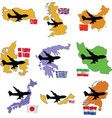 Fly me to the united kingdom china denmark greece vector