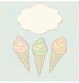 Three icecream cones with a blank label vector