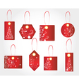 Red christmas gift tags vector