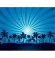 Tropical background with palm tree silhouette vector