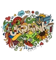 Ukraine hand lettering and doodles elements vector