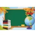 School autumn background with blackboard globe vector
