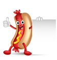Hot dog cartoon holding blank sign vector