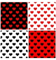 Tile pattern set with red and black hearts vector
