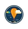Hot air balloon flying over the mountain vector