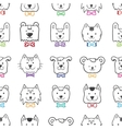 Hand drawn doodle cartoon animal heads seamless vector
