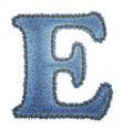 Jeans alphabet denim letter e vector