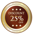 Twenty five percent discount gold label vector